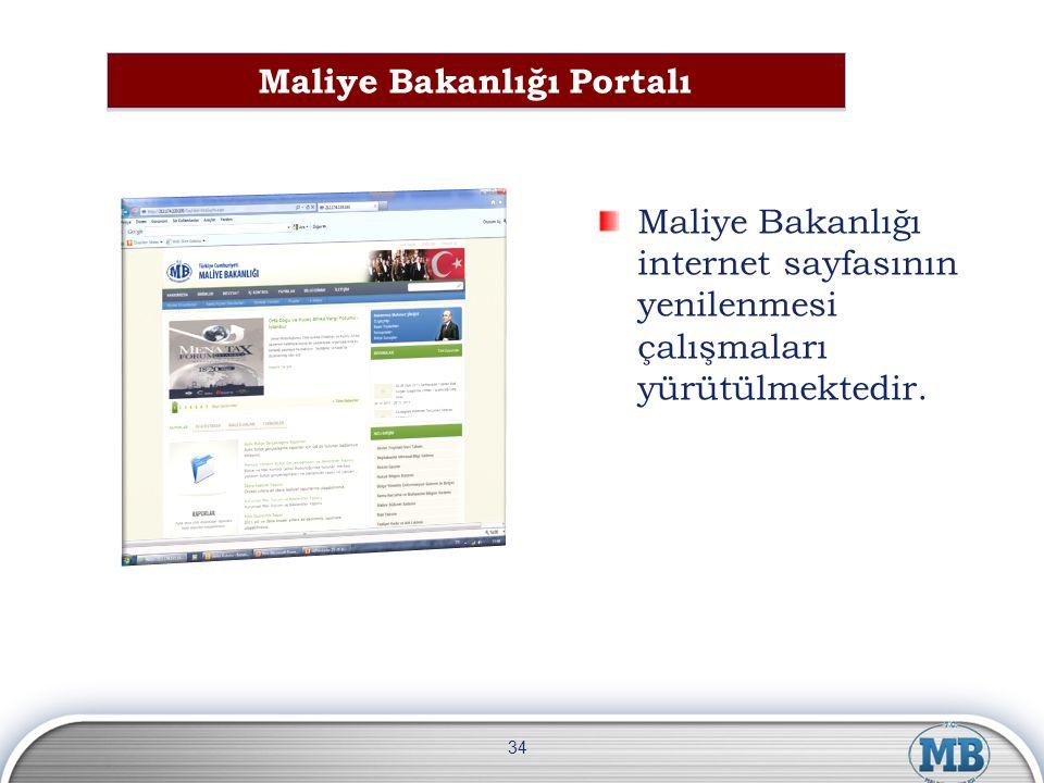 Maliye Bakanlığı internet sayfasının yenilenmesi çalışmaları yürütülmektedir. 34 Maliye Bakanlığı Portalı