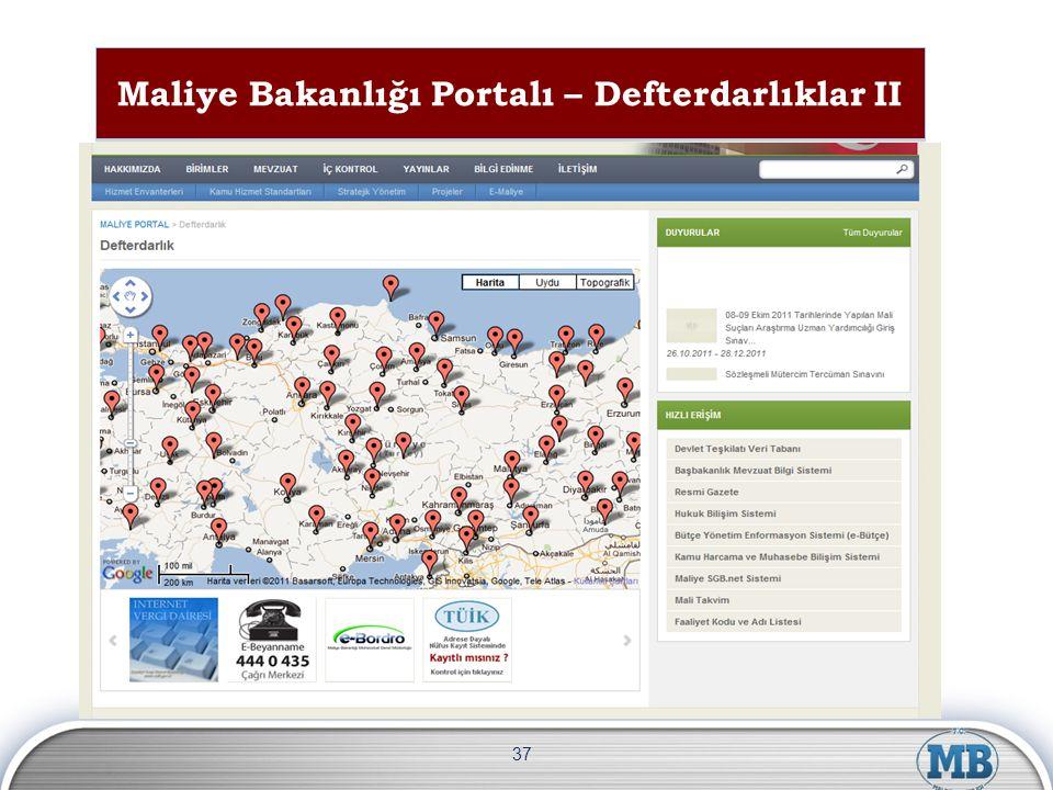 Maliye Bakanlığı Portalı – Defterdarlıklar II 37