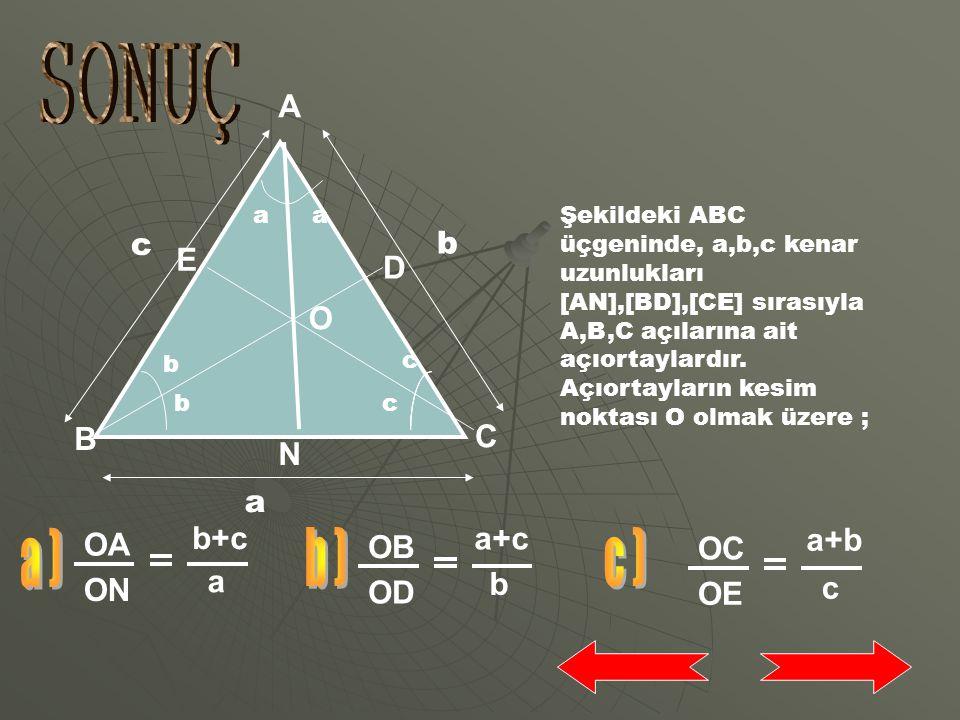 A N C B Üçgenin çevresi 33 cm verildiğine göre |AB|+|AC|+|BC|=33 cm'dir. |BC|=11 cm olduğundan |AB|+|AC|=22 cm olur. |AC|=x dersek |AB|=22-x olur. Açı