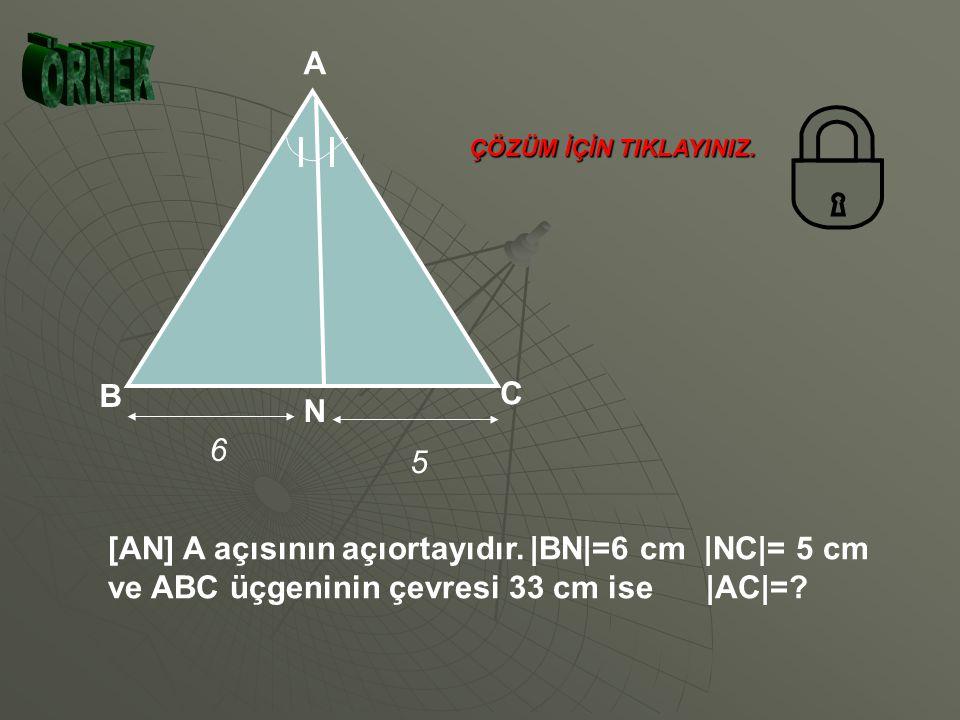 N K M T 14 cm 12 cm 9 cm TM=x dersek, TN=14-x olur. Açıortay teore- mine göre, KM KN TM TN bulunur. Verilenler yerine yazılırsa; 9 12 x 14-x 12x = 9 (