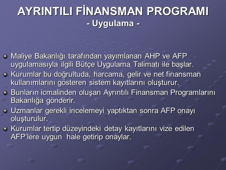 AYRINTILI FİNANSMAN PROGRAMI - Uygulama - Maliye Bakanlığı tarafından yayımlanan AHP ve AFP uygulamasıyla ilgili Bütçe Uygulama Talimatı ile başlar.