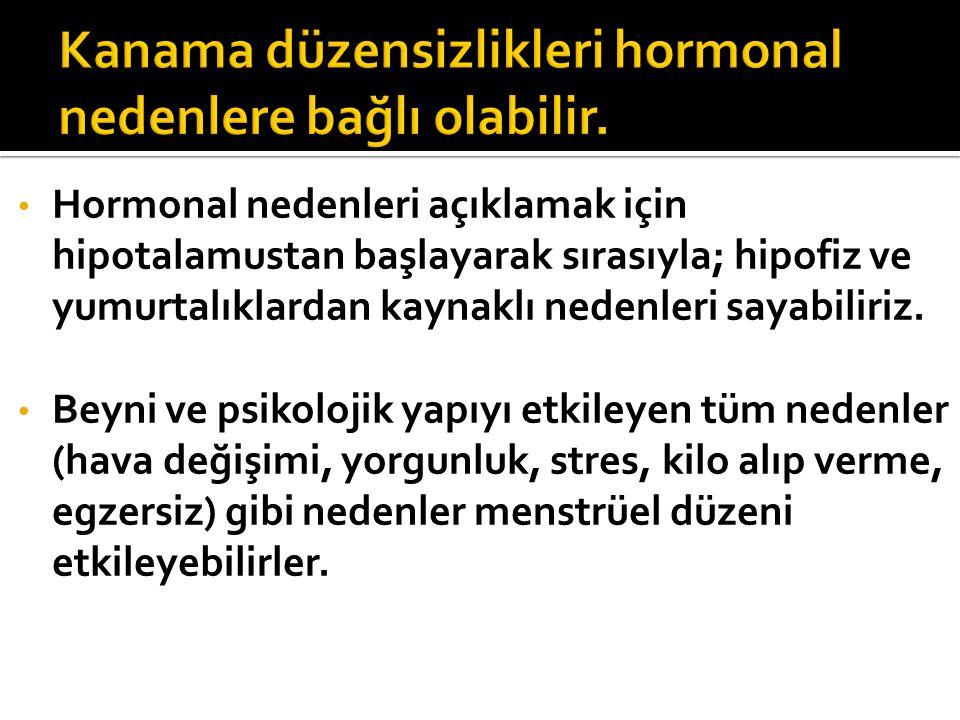 Hormonal nedenleri açıklamak için hipotalamustan başlayarak sırasıyla; hipofiz ve yumurtalıklardan kaynaklı nedenleri sayabiliriz. Beyni ve psikolojik