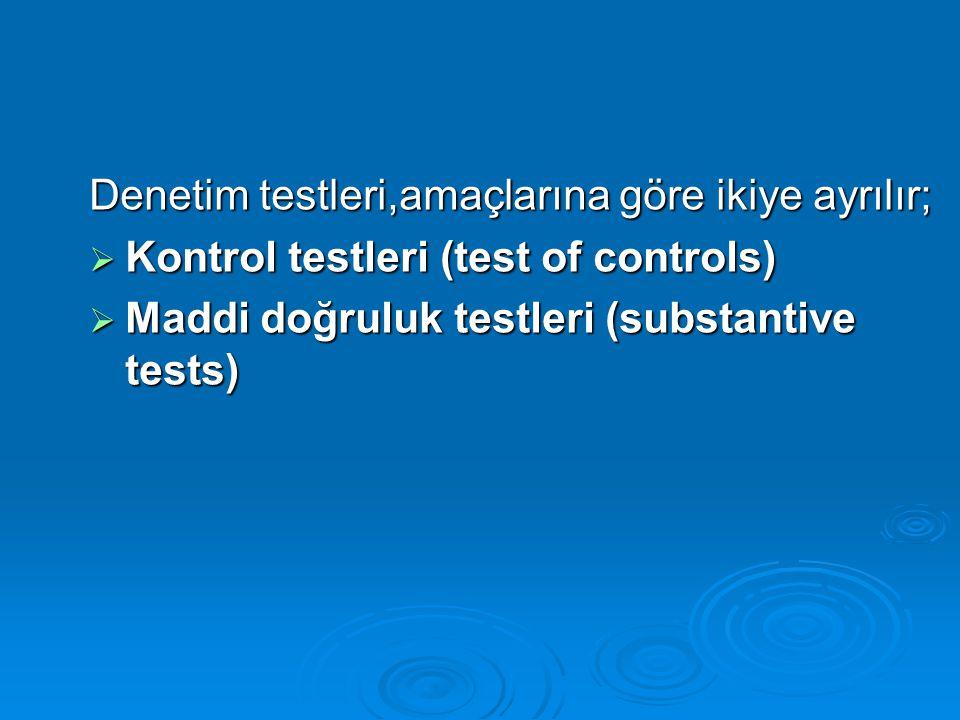 Denetim testleri,uygulandığı verilere göre üçe ayrılır; Denetim testleri,uygulandığı verilere göre üçe ayrılır;  İşlemlerin testi (test of transactions)  Hesap kalanlarının testi (test of details of balances)  Analitik testler (analytical procedures)