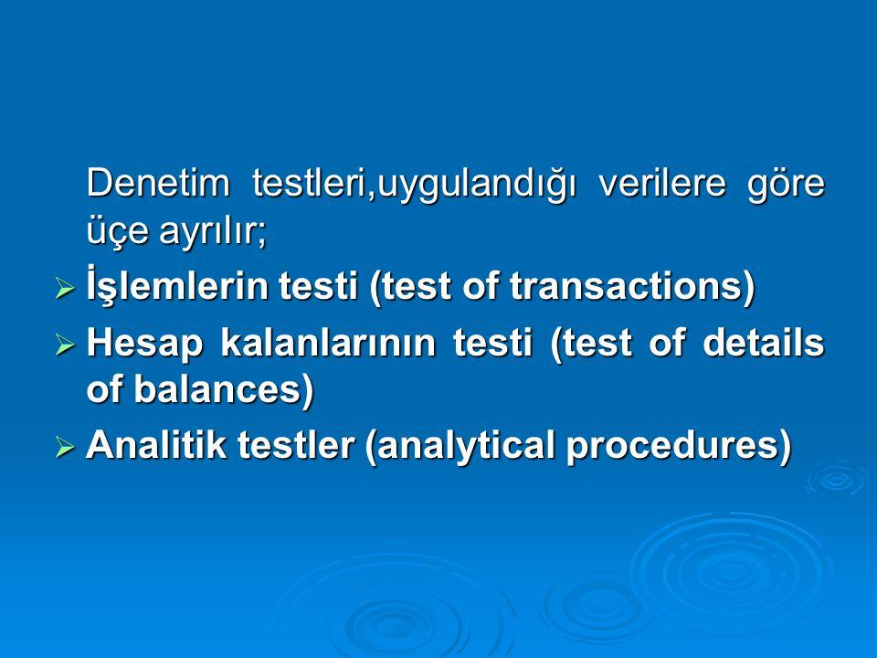 Denetim testleri,uygulandığı verilere göre üçe ayrılır; Denetim testleri,uygulandığı verilere göre üçe ayrılır;  İşlemlerin testi (test of transactio