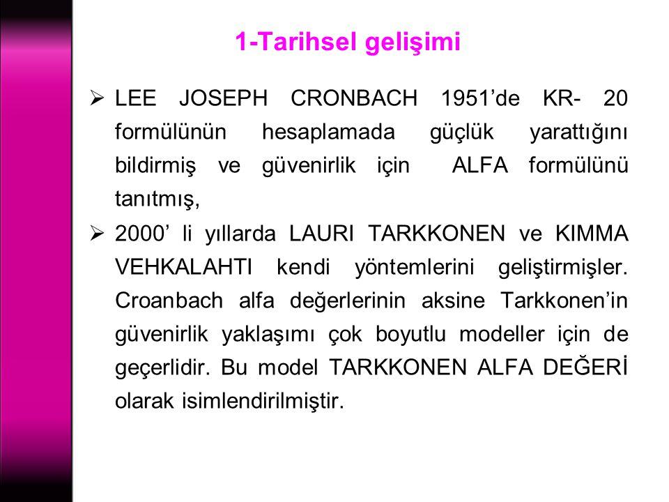 1-Tarihsel gelişimi  LEE JOSEPH CRONBACH 1951'de KR- 20 formülünün hesaplamada güçlük yarattığını bildirmiş ve güvenirlik için ALFA formülünü tanıtmı