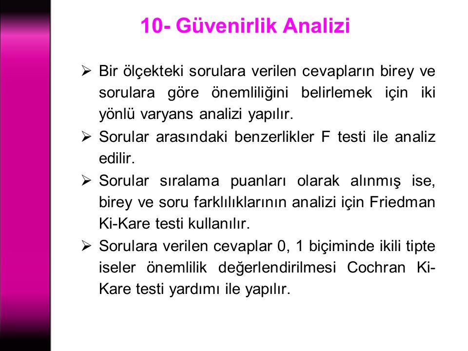 10- Güvenirlik Analizi  Bir ölçekteki sorulara verilen cevapların birey ve sorulara göre önemliliğini belirlemek için iki yönlü varyans analizi yapıl