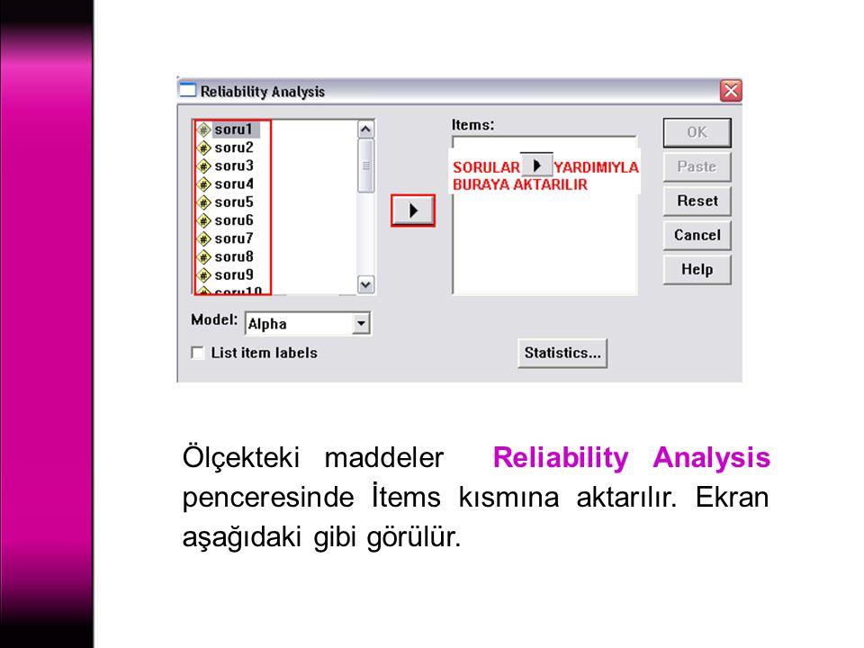 Ölçekteki maddeler Reliability Analysis penceresinde İtems kısmına aktarılır. Ekran aşağıdaki gibi görülür.