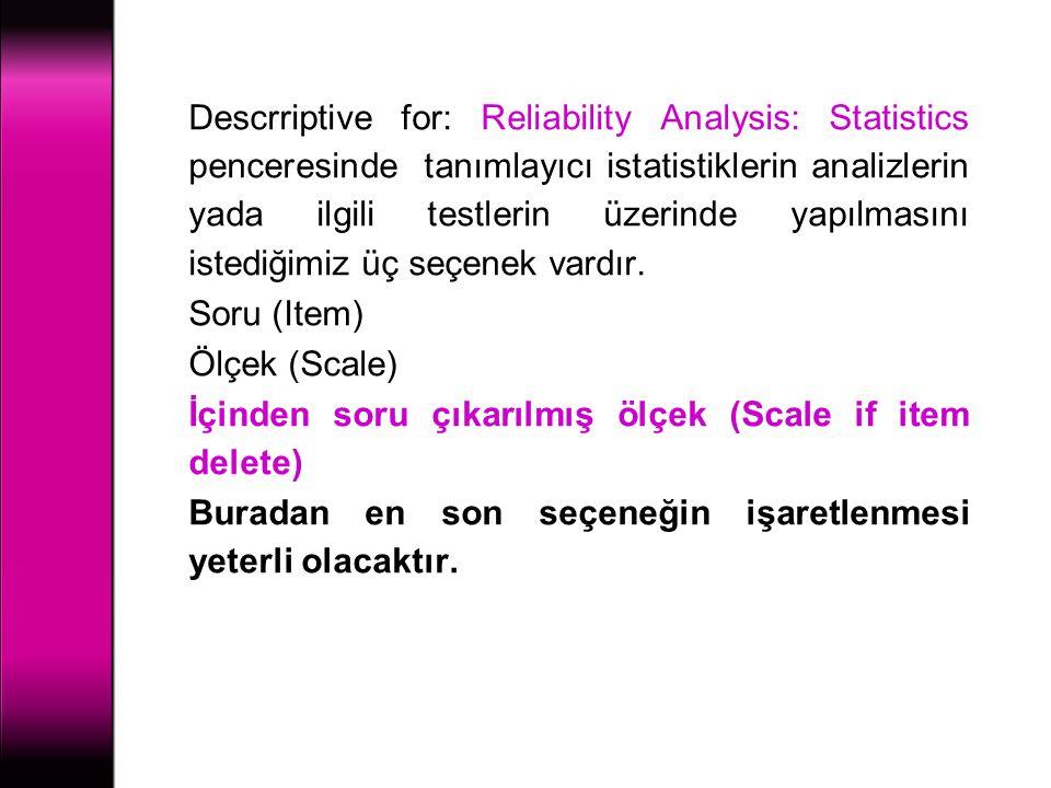 Descrriptive for: Reliability Analysis: Statistics penceresinde tanımlayıcı istatistiklerin analizlerin yada ilgili testlerin üzerinde yapılmasını ist