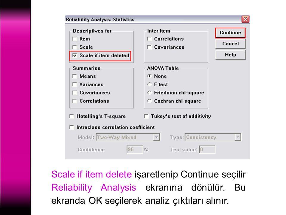 Scale if item delete işaretlenip Continue seçilir Reliability Analysis ekranına dönülür. Bu ekranda OK seçilerek analiz çıktıları alınır.