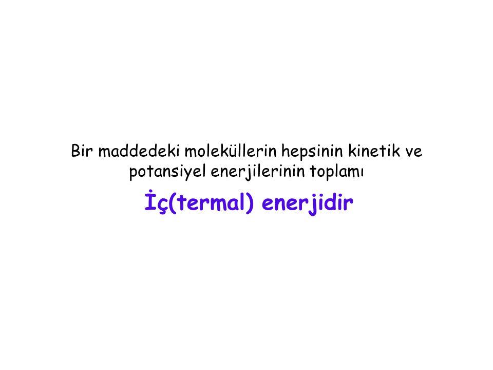 Maddenin halleri ve Sıcaklık Tek atomlu gaz ----> sadece öteleme kinetik enerjisi.