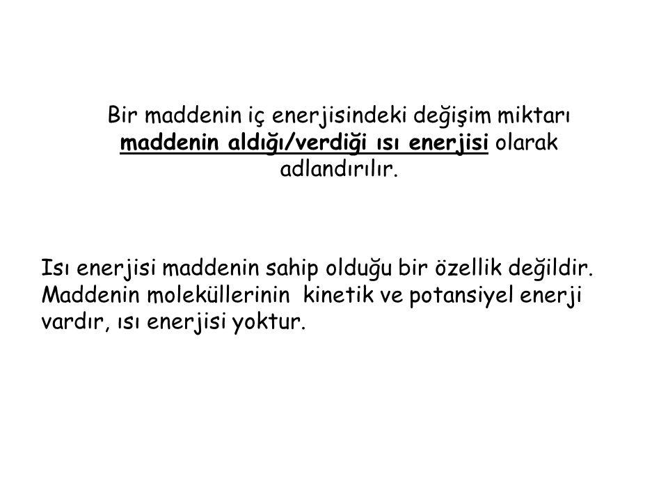 Bir maddenin iç enerjisindeki değişim miktarı maddenin aldığı/verdiği ısı enerjisi olarak adlandırılır.
