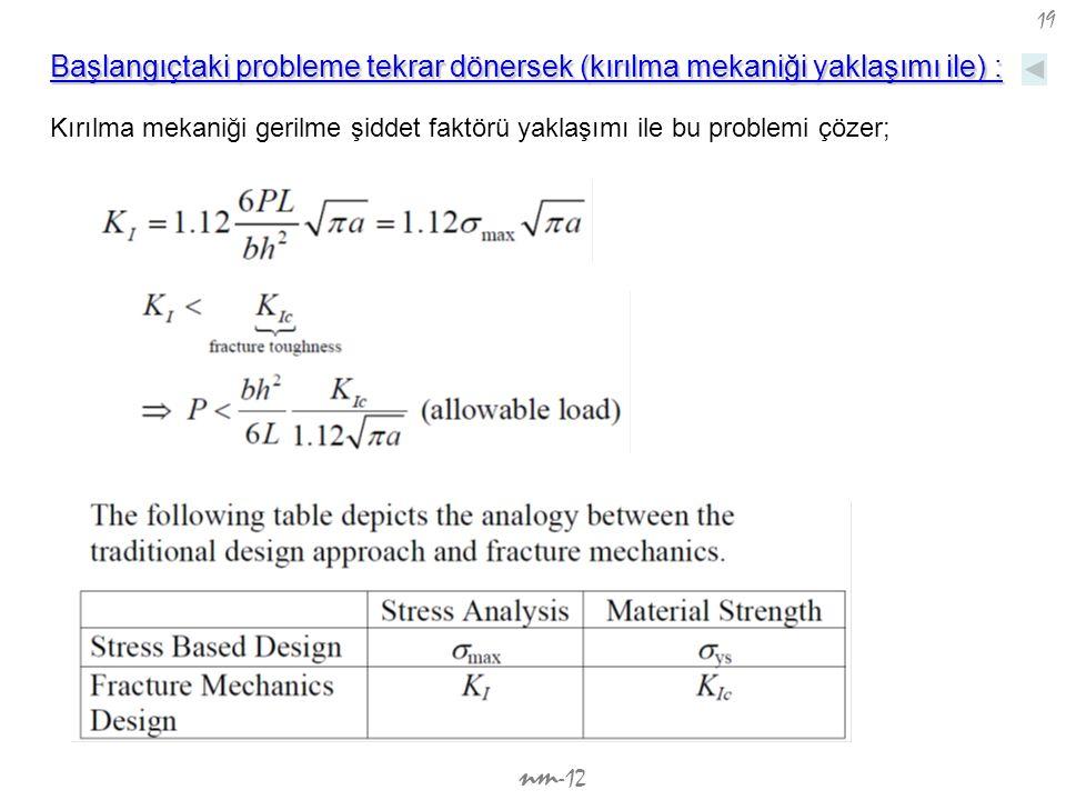 nm -12 19 Kırılma mekaniği gerilme şiddet faktörü yaklaşımı ile bu problemi çözer; Başlangıçtaki probleme tekrar dönersek (kırılma mekaniği yaklaşımı