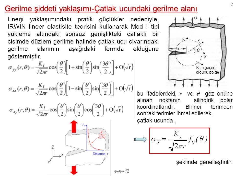 nm -12 3 Özel olarak  =0 düzlemindeki gerilmeler ; K I K I r  K I olarak elde edilir.