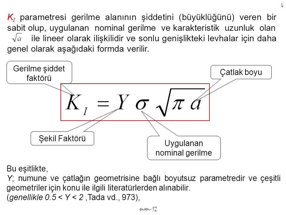 nm -12 4 K I K I parametresi gerilme alanının şiddetini (büyüklüğünü) veren bir sabit olup, uygulanan nominal gerilme ve karakteristik uzunluk olan il