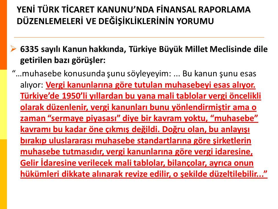 YENİ TÜRK TİCARET KANUNU'NDA FİNANSAL RAPORLAMA DÜZENLEMELERİ VE DEĞİŞİKLİKLERİNİN YORUMU  6335 sayılı Kanun hakkında, Türkiye Büyük Millet Meclisind