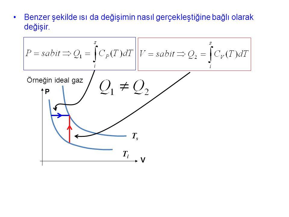 Benzer şekilde ısı da değişimin nasıl gerçekleştiğine bağlı olarak değişir. Örneğin ideal gaz TiTi TsTs P V