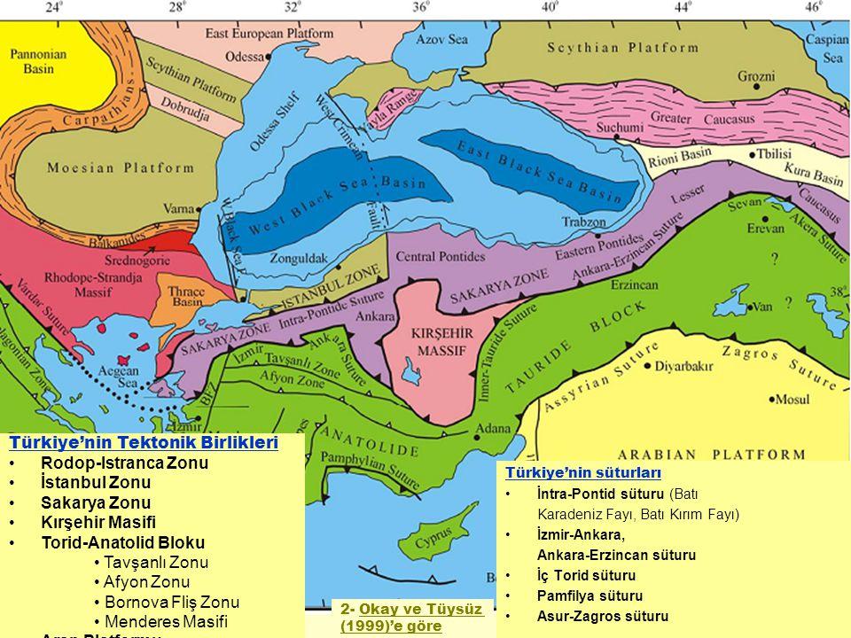 Türkiye'nin süturları İntra-Pontid süturu (Batı Karadeniz Fayı, Batı Kırım Fayı) İzmir-Ankara, Ankara-Erzincan süturu İç Torid süturu Pamfilya süturu