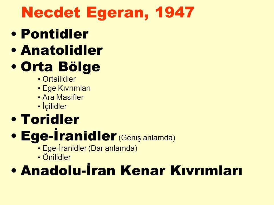 Necdet Egeran, 1947 Pontidler Anatolidler Orta Bölge Ortailidler Ege Kıvrımları Ara Masifler İçilidler Toridler Ege-İranidler (Geniş anlamda) Ege-İran
