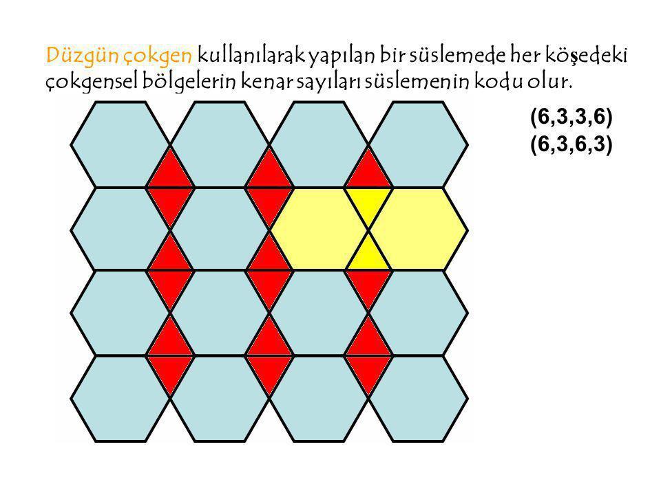 Düzgün çokgen kullanılarak yapılan bir süslemede her kö ş edeki çokgensel bölgelerin kenar sayıları süslemenin kodu olur. (6,3,3,6) (6,3,6,3)