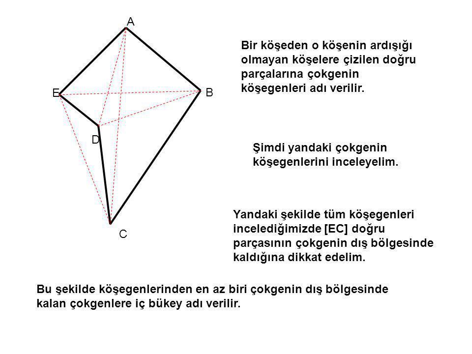 Bir köşeden o köşenin ardışığı olmayan köşelere çizilen doğru parçalarına çokgenin köşegenleri adı verilir. A B C D E Şimdi yandaki çokgenin köşegenle