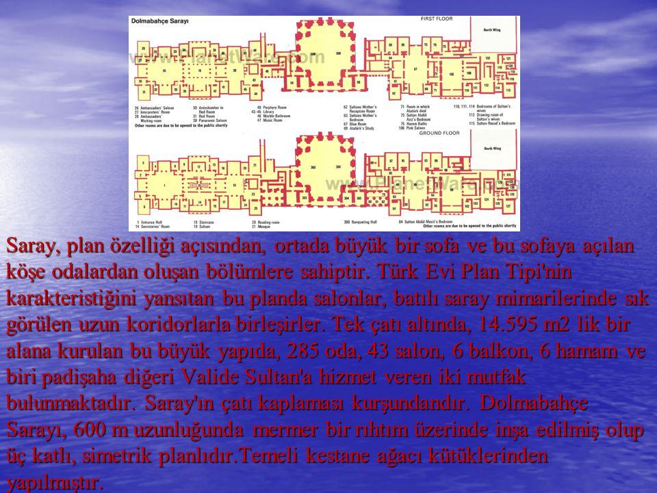 Saray, plan özelliği açısından, ortada büyük bir sofa ve bu sofaya açılan köşe odalardan oluşan bölümlere sahiptir. Türk Evi Plan Tipi'nin karakterist