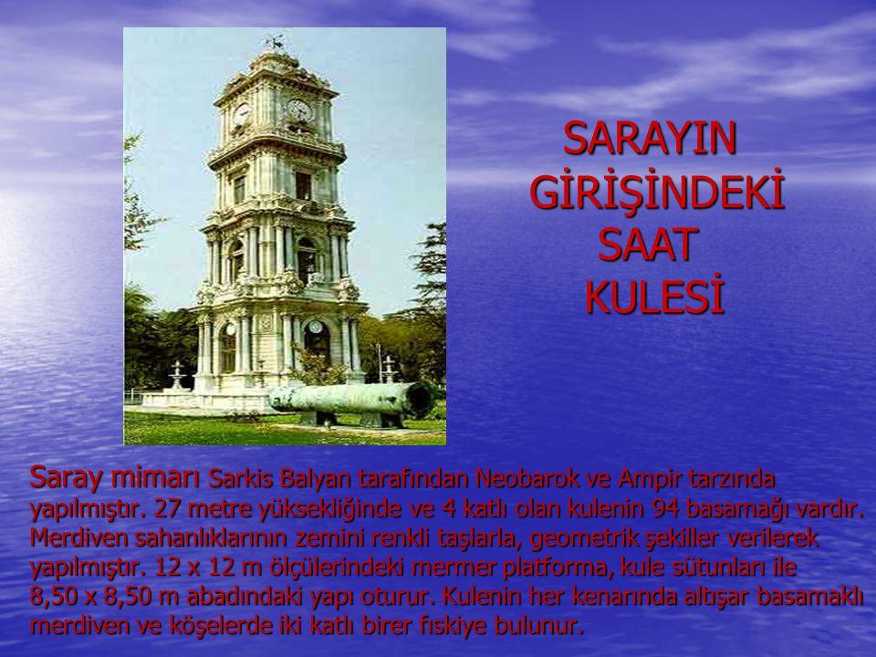 Saray mimarı Sarkis Balyan tarafından Neobarok ve Ampir tarzında yapılmıştır. 27 metre yüksekliğinde ve 4 katlı olan kulenin 94 basamağı vardır. Merdi