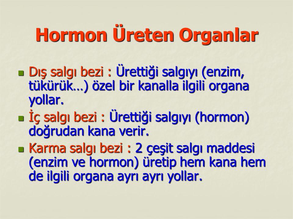 Hormon Üreten Organlar Dış salgı bezi : Ürettiği salgıyı (enzim, tükürük…) özel bir kanalla ilgili organa yollar.
