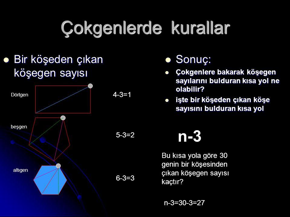Çokgenlerde kurallar Bir köşeden çıkan köşegen sayısı Sonuç: Çokgenlere bakarak köşegen sayılarını bulduran kısa yol ne olabilir? işte bir köşeden çık