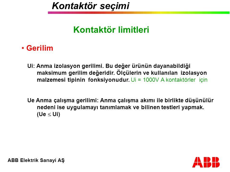 ABB Elektrik Sanayi AŞ Kontaktör seçimi Motor uygulamada tahmini ömür : AC - 4 U e  440 V 1) Uygulama: Ue = 400 V, Ie = 22 A % AC4 çalışma döngüsü: K = 15 % (tahmin) Tahmini ömür: 400 000 çalışma Açma akımı AC3: Ic = Ie Açma akımı AC4: Ic = 6 x Ie Tahmini ömrün hesabı : Örnek 2) AC3 e göre en küçük kontaktörü seçin 3) Döngülerin sayısını göreceli olarak not edin : A Ic = Ie AC3 eğrisi B Ic = 6 x Ie AC4 eğrisi 4) Tahmini ömrü hesap edin: 5) Ömrü çok kısa.