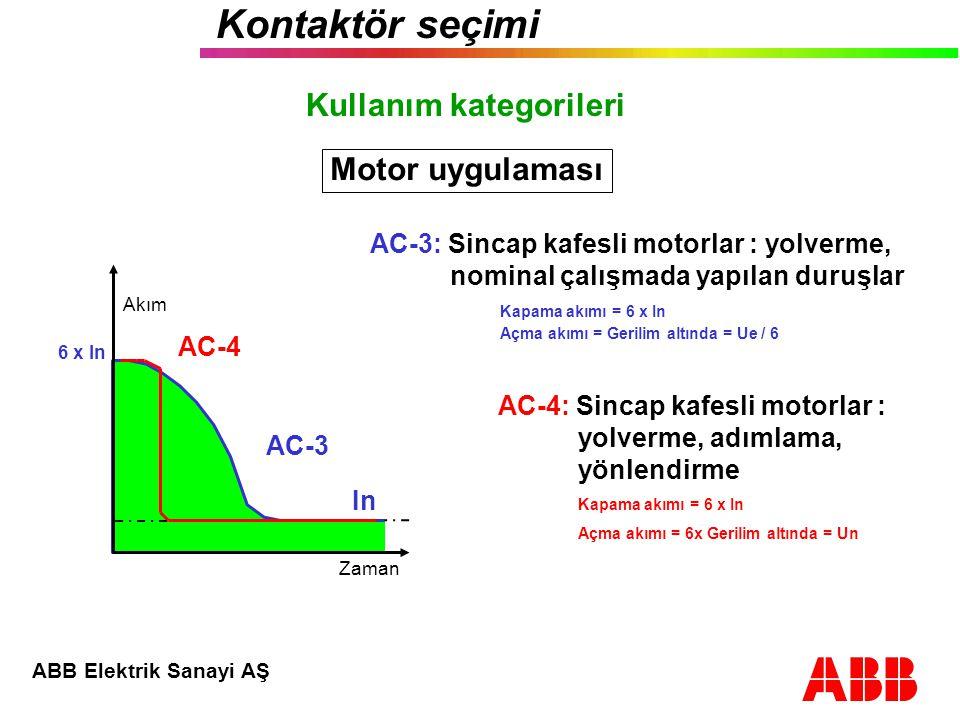 ABB Elektrik Sanayi AŞ Kontaktör seçimi AC - 1 : Endüktif olmayan yükler, rezistans,fırınlar AC - 2 : Bilezikli motorlar : yolverme, kapama.