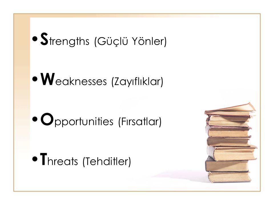 S trengths (Güçlü Yönler) W eaknesses (Zayıflıklar) O pportunities (Fırsatlar) T hreats (Tehditler)