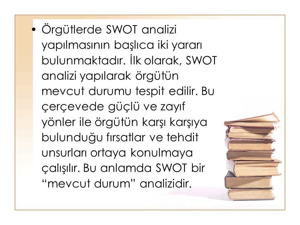 Örgütlerde SWOT analizi yapılmasının başlıca iki yararı bulunmaktadır. İlk olarak, SWOT analizi yapılarak örgütün mevcut durumu tespit edilir. Bu çerç