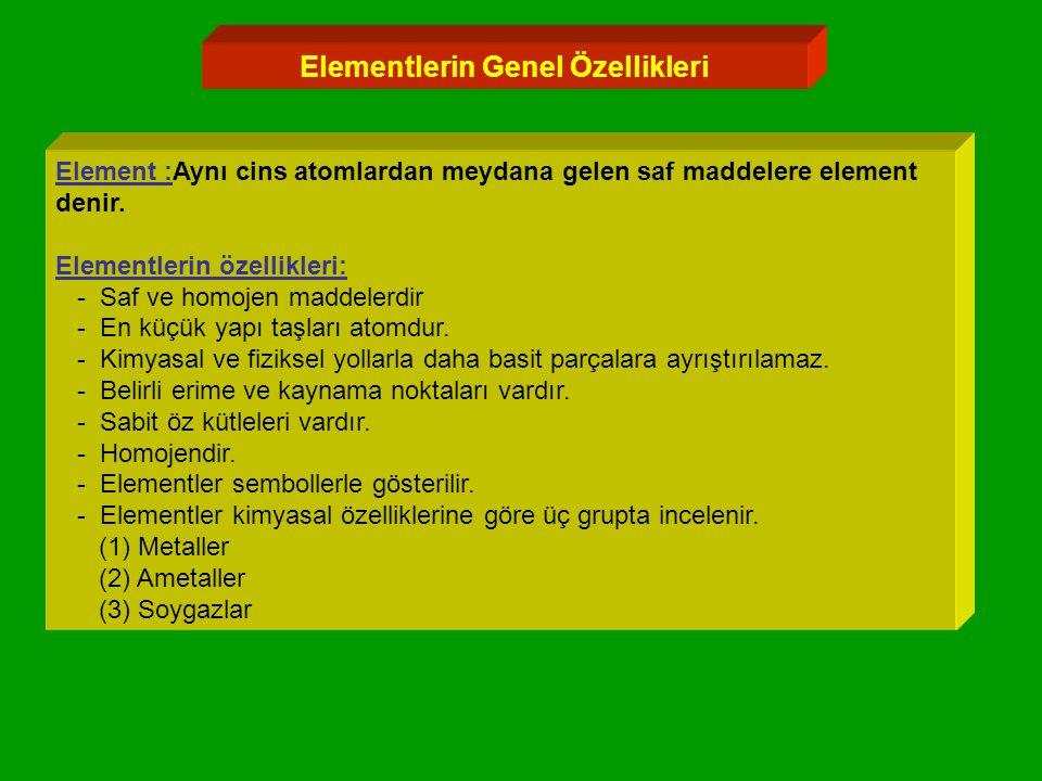 Elementlerin Genel Özellikleri Element :Aynı cins atomlardan meydana gelen saf maddelere element denir.