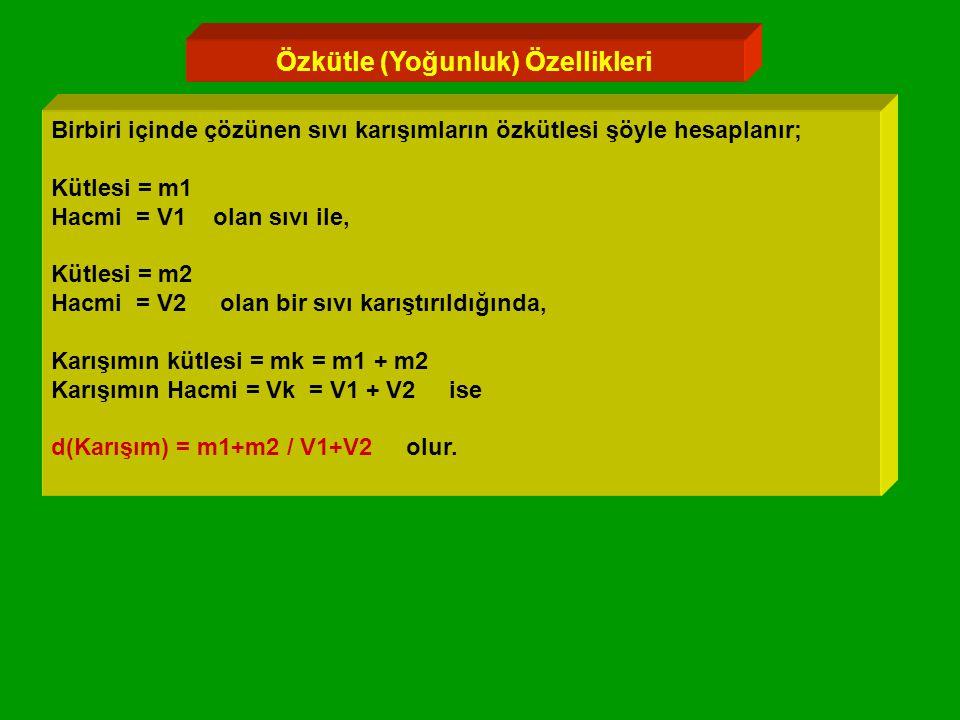 Özkütle (Yoğunluk) Özellikleri Birbiri içinde çözünen sıvı karışımların özkütlesi şöyle hesaplanır; Kütlesi = m1 Hacmi = V1 olan sıvı ile, Kütlesi = m2 Hacmi = V2 olan bir sıvı karıştırıldığında, Karışımın kütlesi = mk = m1 + m2 Karışımın Hacmi = Vk = V1 + V2 ise d(Karışım) = m1+m2 / V1+V2 olur.