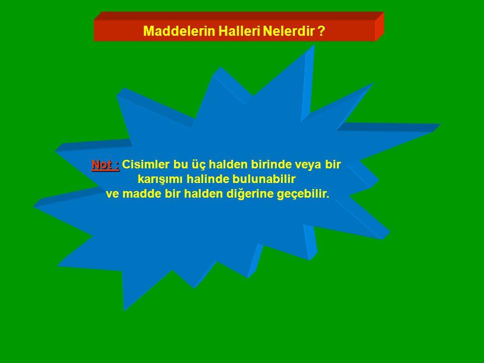 Maddelerin Halleri Nelerdir .