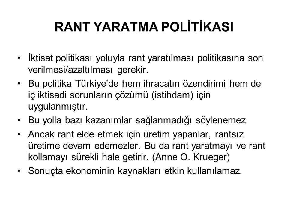 RANT YARATMA POLİTİKASI İktisat politikası yoluyla rant yaratılması politikasına son verilmesi/azaltılması gerekir. Bu politika Türkiye'de hem ihracat