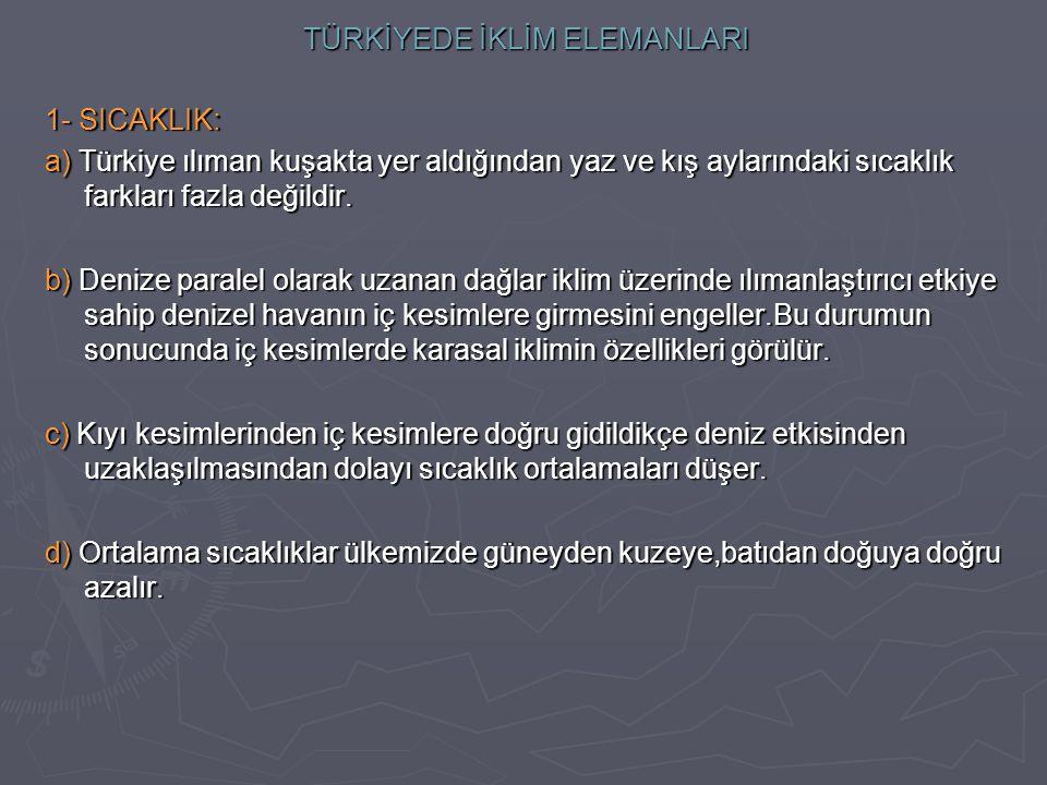 TÜRKİYEDE İKLİM ELEMANLARI 1- SICAKLIK: a) Türkiye ılıman kuşakta yer aldığından yaz ve kış aylarındaki sıcaklık farkları fazla değildir.