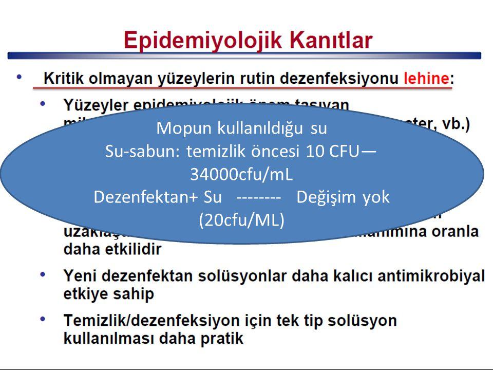 Mopun kullanıldığu su Su-sabun: temizlik öncesi 10 CFU— 34000cfu/mL Dezenfektan+ Su -------- Değişim yok (20cfu/ML)