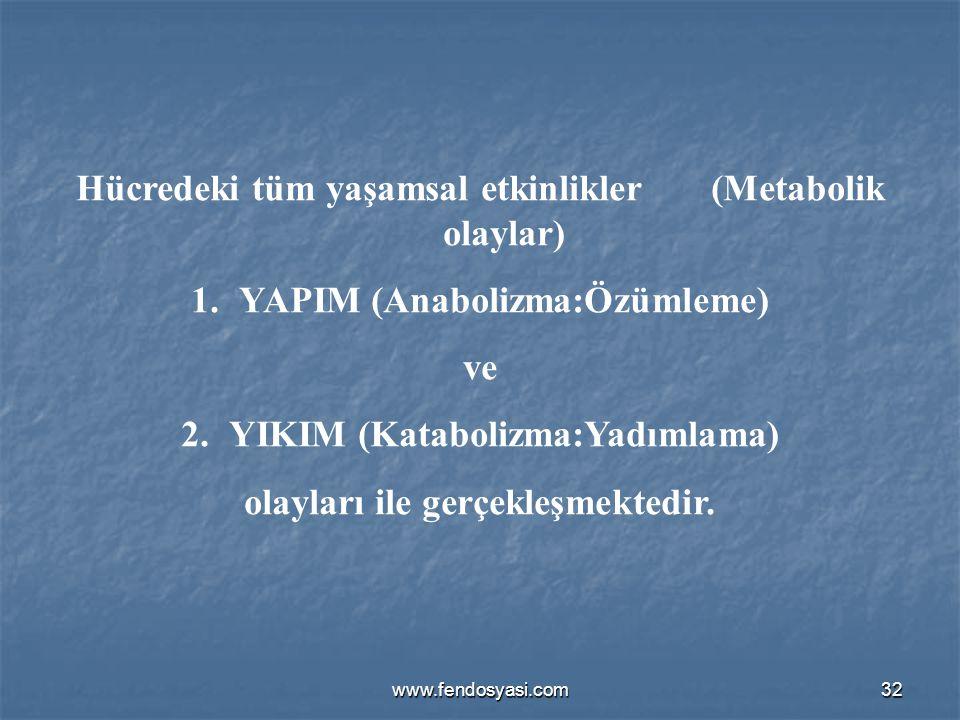 www.fendosyasi.com32 Hücredeki tüm yaşamsal etkinlikler (Metabolik olaylar) 1.YAPIM (Anabolizma:Özümleme) ve 2.YIKIM (Katabolizma:Yadımlama) olayları