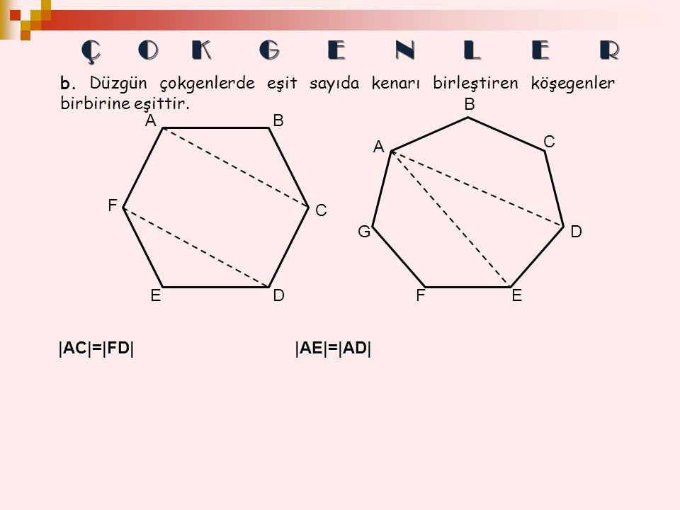 |AC|=|FD| |AE|=|AD| b. Düzgün çokgenlerde eşit sayıda kenarı birleştiren köşegenler birbirine eşittir. A F ED C B G FE D C B A Ç OKGENLER