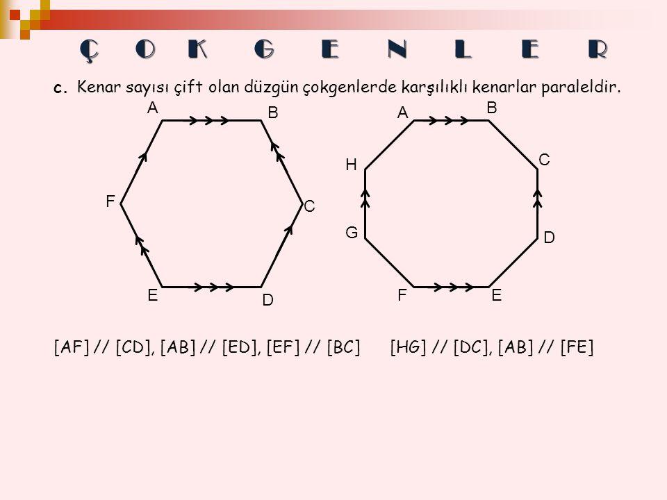 c. Kenar sayısı çift olan düzgün çokgenlerde karşılıklı kenarlar paraleldir. F C E D A B E D C B G H A F [AF] // [CD], [AB] // [ED], [EF] // [BC] [HG]