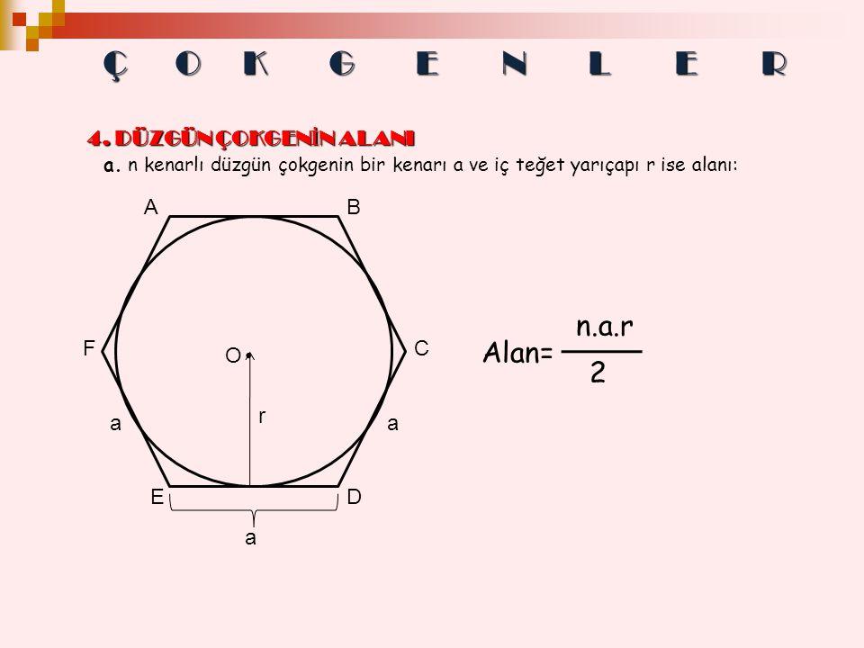 a. n kenarlı düzgün çokgenin bir kenarı a ve iç teğet yarıçapı r ise alanı: a aa O r AB C DE F Alan= n.a.r 2 Ç OKGENLER 4. DÜZGÜN ÇOKGENİN ALANI