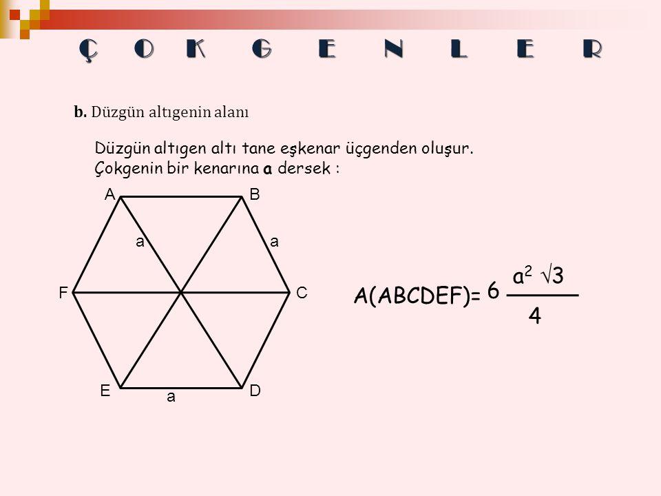 Düzgün altıgen altı tane eşkenar üçgenden oluşur. Çokgenin bir kenarına a dersek : b. Düzgün altıgenin alanı E C D A F B a a a A(ABCDEF)= 6 a2 3a2 3