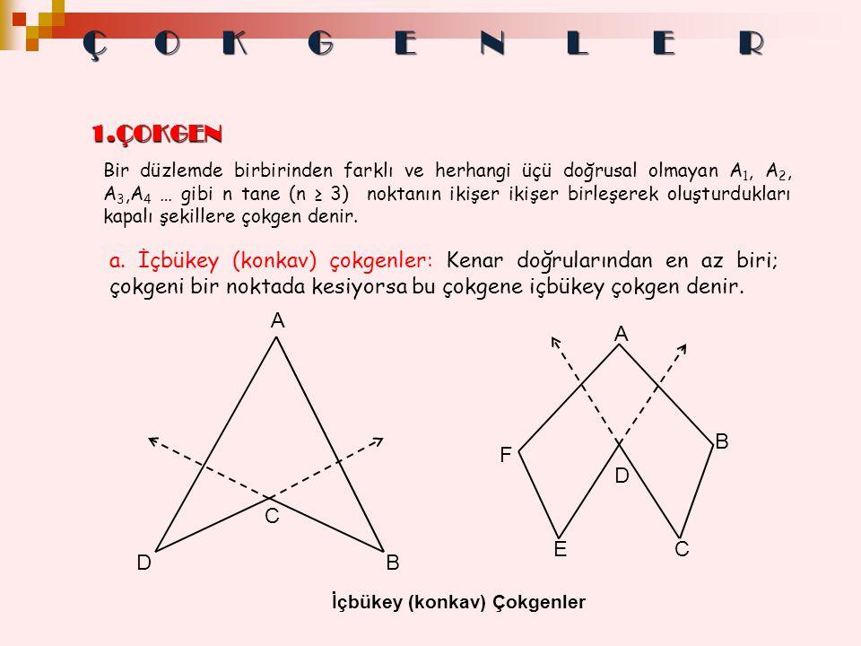 1.ÇOKGEN 1.ÇOKGEN Bir düzlemde birbirinden farklı ve herhangi üçü doğrusal olmayan A 1, A 2, A 3,A 4 … gibi n tane (n ≥ 3) noktanın ikişer ikişer birl
