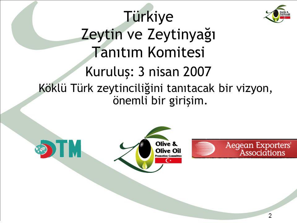 Türkiye Zeytin ve Zeytinyağı Tanıtım Komitesi 2 Kuruluş: 3 nisan 2007 Köklü Türk zeytinciliğini tanıtacak bir vizyon, önemli bir girişim.