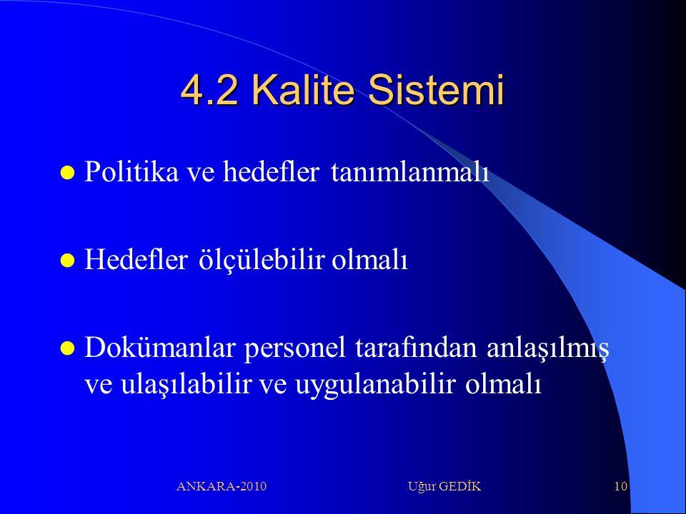 ANKARA-2010 Uğur GEDİK10 4.2 Kalite Sistemi Politika ve hedefler tanımlanmalı Hedefler ölçülebilir olmalı Dokümanlar personel tarafından anlaşılmış ve