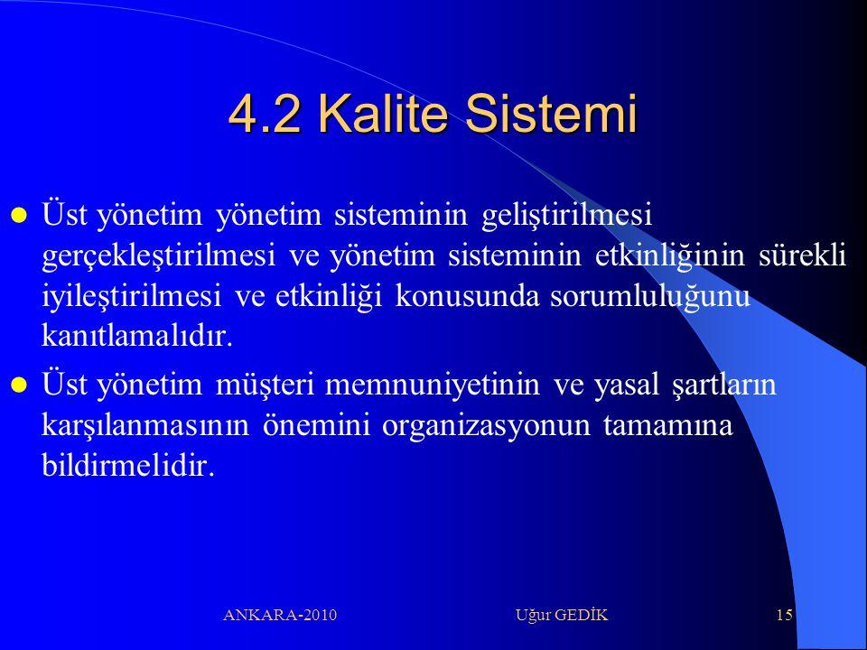 ANKARA-2010 Uğur GEDİK15 4.2 Kalite Sistemi Üst yönetim yönetim sisteminin geliştirilmesi gerçekleştirilmesi ve yönetim sisteminin etkinliğinin sürekl
