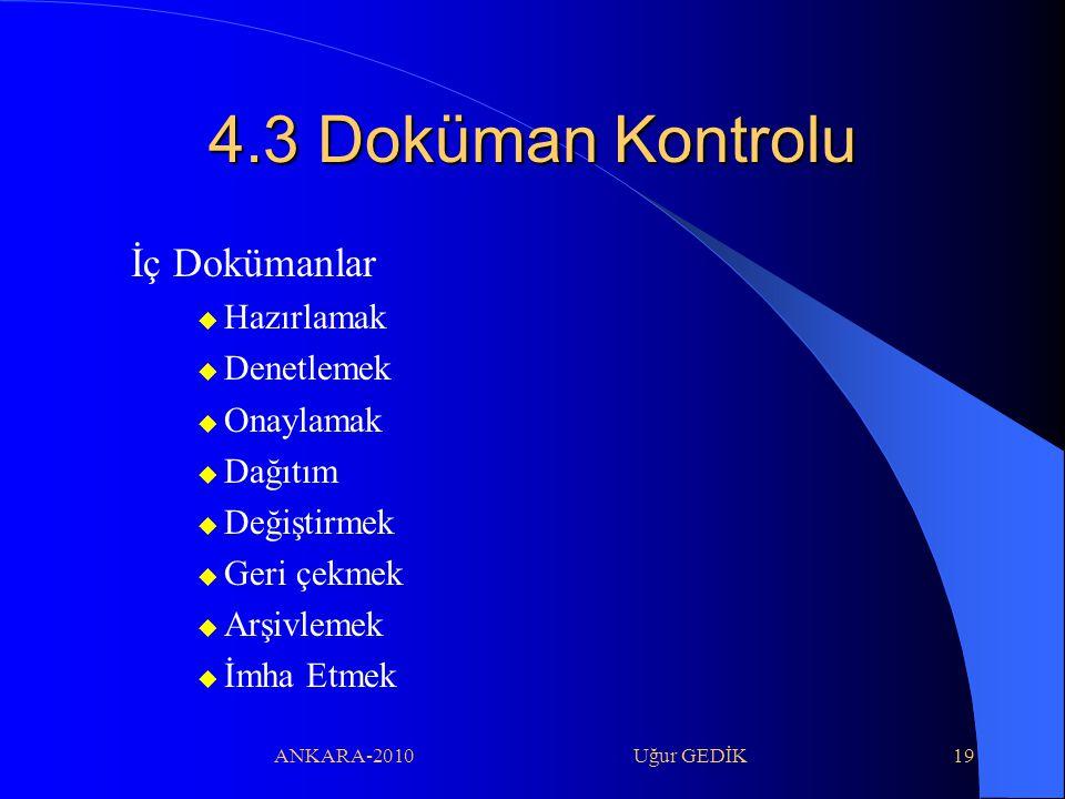 ANKARA-2010 Uğur GEDİK19 4.3 Doküman Kontrolu İç Dokümanlar  Hazırlamak  Denetlemek  Onaylamak  Dağıtım  Değiştirmek  Geri çekmek  Arşivlemek 