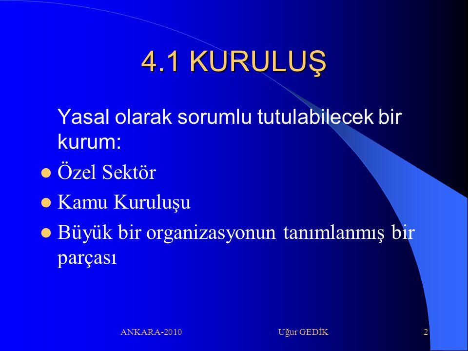 ANKARA-2010 Uğur GEDİK43 4.12 KAYITLARIN KONTROLU Gözlemler, veriler ve hesapların kaydının tutulması ve düzenlenmesi gereklidir.
