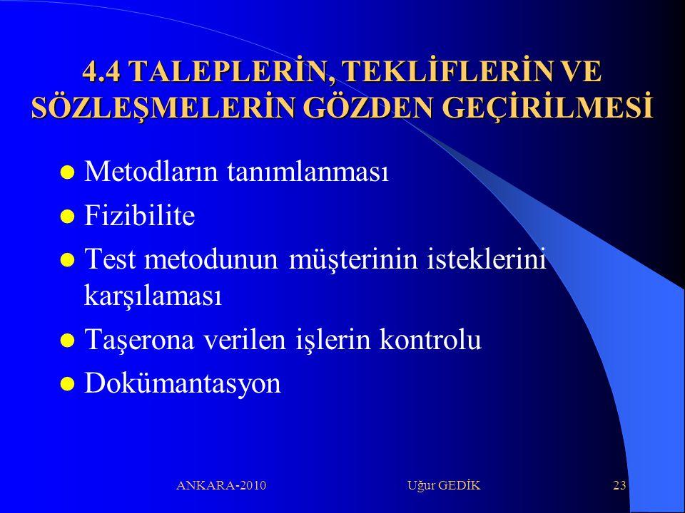 ANKARA-2010 Uğur GEDİK23 4.4 TALEPLERİN, TEKLİFLERİN VE SÖZLEŞMELERİN GÖZDEN GEÇİRİLMESİ Metodların tanımlanması Fizibilite Test metodunun müşterinin
